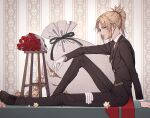 1girl bambi-25 bangs blonde_hair bouquet braid chair collar eyebrows_visible_through_hair fate/apocrypha fate/grand_order fate_(series) flower formal french_braid from_side gloves gloves_removed green_eyes hair_ornament hair_scrunchie highres long_hair long_pants looking_at_viewer mordred_(fate) mordred_(fate)_(all) necktie open_mouth pants ponytail red_flower red_scrunchie rose sack saint_quartz scrunchie shoes sitting smile solo suit