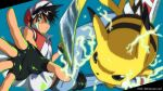 1boy artist_name bangs baseball_cap belt black_gloves black_hair brown_eyes clenched_hand commentary_request dated denim electricity fingerless_gloves gen_1_pokemon gloves hat highres jacket jeans kibisakura2 male_focus open_clothes open_jacket outstretched_hand pants parted_lips pikachu pokemon pokemon_(creature) pokemon_adventures red_(pokemon) red_jacket shirt shoes short_sleeves spread_fingers