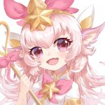1girl alternate_color animal_ears fang headpiece holding holding_staff league_of_legends long_hair looking_at_viewer lulu_(league_of_legends) magical_girl natsuichi-sama open_mouth pink_eyes pink_hair smile staff star_(symbol) star_guardian_(league_of_legends) star_guardian_lulu tiara upper_body yordle