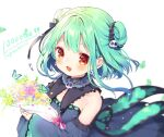!! aqua_hair bangs blue_dress blue_sleeves blush bouquet bow bug butterfly collar congratulations detached_collar detached_sleeves double_bun dress earrings echigo_shukura flower frilled_collar frilled_dress frills gradient_dress hair_ornament hair_ribbon highres holding holding_bouquet hololive insect jewelry open_mouth pink_bow red_eyes ribbon short_dress short_hair sidelocks skull_earrings skull_hair_ornament smile strapless strapless_dress uruha_rushia virtual_youtuber wide_sleeves