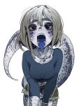 1girl black_eyes blue-tongued_skink blue-tongued_skink_(sparrowl) blue_tongue breasts brown_shorts colored_sclera colored_skin colored_tongue cowboy_shot grey_hair large_breasts lizard_girl lizard_tail long_sleeves looking_at_viewer medium_hair monster_girl open_mouth original purple_skin scales shorts solo sparrowl standing tail tongue tongue_out yellow_sclera