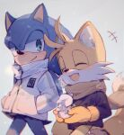 2boys ^_^ ^o^ absurdres animal_nose c52278 closed_eyes closed_mouth fox_boy friends furry gloves green_eyes hands_in_pockets highres jacket male_focus multiple_boys open_mouth scarf smile snow snowman sonic sonic_the_hedgehog symbol_commentary tail tails_(sonic) walking