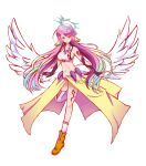 1girl absurdres angel_wings breasts brown_footwear elbow_gloves ella_zhao feathered_wings gloves halo highres jibril_(no_game_no_life) long_hair low_wings magic_circle midriff mismatched_legwear navel no_game_no_life outstretched_arms purple_hair red_eyes sideboob single_thighhigh small_breasts solo standing standing_on_one_leg thigh-highs thighs transparent_background very_long_hair watermark white_wings wing_ears wings