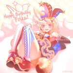 1girl ahoge animal_ears applefootcz blonde_hair breasts cake character_name convenient_leg detached_sleeves food fox_ears fox_tail full_body gloves hair_ornament happy_birthday hat highres hololive icing jester_cap knees_up looking_at_viewer lying medium_breasts messy_hair mismatched_legwear multicolored multicolored_hair multicolored_nails nail_polish omaru_polka on_back pink_eyes reclining red_gloves showgirl_skirt smile solo streaked_hair striped striped_legwear tail thigh-highs thighs twitter_username v vertical-striped_legwear vertical_stripes virtual_youtuber wrist_cuffs x_hair_ornament