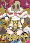 1boy bag_over_head belt blue_belt blue_legwear bracelet cape coin copyright_name cover cover_page crossed_legs crown curtains doujin_cover facing_viewer fur-trimmed_cape fur_trim gem gold holding holding_staff jewelry lying male_focus maru_(sasayama_chikage) necklace number on_back ragnarok_online reclining red_cape shirt shorts socks solo sparkle staff super_novice_(ragnarok_online) treasure_chest white_shirt white_shorts