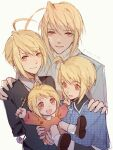 4boys :d absurdres ahoge blonde_hair c52278 child closed_mouth highres holding hotori_tadase looking_at_viewer male_focus multiple_boys multiple_persona open_mouth red_eyes shoes shugo_chara! smile sweater