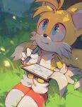 1boy absurdres blue_eyes blush c52278 dated drawing english_commentary fox_boy furry gloves grass highres holding holding_pen huge_filesize male_focus pen shadow shoes sitting solo sonic_the_hedgehog tails_(sonic) white_gloves