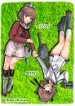 2girls absurdres adapted_turret brown_eyes brown_hair brown_neckwear brown_sailor_collar dress dual_persona fire_maxs flower grey_neckwear grey_sailor_collar hair_flower hair_ornament hairclip headgear headset highres holding_hands kantai_collection lying multiple_girls neckerchief on_back red_shirt remodel_(kantai_collection) sailor_collar sailor_dress sailor_shirt shirt short_hair tan_yang_(kantai_collection) white_dress yukikaze_(kantai_collection)