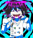 bangs black_background black_hair blood blood_from_mouth blue_background collarbone commentary_request danganronpa_(series) danganronpa_v3:_killing_harmony furukawa_(yomawari) hair_between_eyes halo hands_up jacket long_sleeves looking_at_viewer male_focus open_mouth ouma_kokichi pink_blood pointing pointing_at_self purple_hair sharp_teeth short_hair smile solo straitjacket teeth upper_body violet_eyes white_jacket