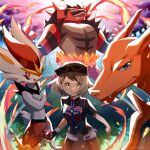 1girl absurdres baseball_cap bob_cut brown_hair champion_uniform charizard cinderace clenched_hand closed_mouth commentary_request dynamax_band eyelashes fire gen_1_pokemon gen_7_pokemon gen_8_pokemon gloria_(pokemon) gloves hat highres holding holding_poke_ball huge_filesize incineroar leggings miyukiyo number poke_ball poke_ball_(basic) pokemon pokemon_(creature) pokemon_(game) pokemon_swsh shirt short_hair short_shorts short_sleeves shorts single_glove smile white_shorts yellow_eyes