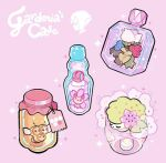 bottle candle character_name cherrim cherrim_(sunshine) cherubi combee commentary gardenia_(pokemon) gen_4_pokemon glass honey jar label mythical_pokemon perfume_bottle pink_background pokemon roserade shaymin shaymin_(land) simple_background sparkle yamato-leaphere