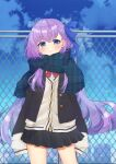 1girl alternate_costume bangs black_jacket black_skirt blazer blue_bow blue_eyes blue_scarf blue_sky blurry blurry_background blush bow brown_cardigan cardigan chain-link_fence cityscape closed_mouth clouds commentary_request day depth_of_field eyebrows_visible_through_hair fate/extra fate/extra_ccc fate_(series) fence fringe_trim hair_between_eyes hair_bow highres jacket light_frown long_hair long_sleeves looking_at_viewer meltryllis open_blazer open_clothes open_jacket outdoors plaid plaid_scarf pleated_skirt popo_(popopuri) purple_hair red_bow scarf school_uniform skirt sky sleeves_past_fingers sleeves_past_wrists solo standing very_long_hair