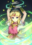 1girl armor arms_up bangs belt blonde_hair bracer circlet closed_mouth collared_shirt dress earrings forehead_jewel gem gradient gradient_background green_background highres jewelry long_hair minamo25 parted_bangs pauldrons pointy_ears princess_zelda ruby_(gemstone) shirt short_sleeves shoulder_armor sidelocks smile solo sparkle straight_hair super_smash_bros. tabard the_legend_of_zelda the_legend_of_zelda:_a_link_between_worlds the_legend_of_zelda:_a_link_to_the_past very_long_hair white_dress
