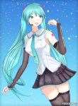 1girl blue_eyes blue_hair confetti detached_sleeves gradient gradient_background hatsune_miku hatsune_miku_(vocaloid4) highres long_hair microphone necktie nikkikaji number_tattoo self_upload shiny shiny_clothes skirt smile tattoo thigh-highs twintails v4x vocaloid