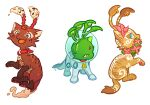:d aisha_(neopets) astronaut blue_eyes commentary creature earrings english_commentary fangs flower full_body jewelry looking_at_another neopets no_humans open_mouth pocky_(susan) smile transparent_background