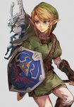 1boy 1girl bangs blue_eyes boots earrings fur headgear holding holding_sword holding_weapon hungry_clicker hylian_shield jewelry link looking_to_the_side midna orange_eyes pants pointy_ears shield smile swept_bangs sword the_legend_of_zelda the_legend_of_zelda:_twilight_princess triforce_print tunic weapon