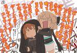 2girls ? ahoge arm_guards asaya_minoru bare_shoulders black_bow black_gloves black_jacket black_scarf bow brown_eyes brown_hair closed_mouth covering_ears fate/grand_order fate_(series) fujimaru_ritsuka_(female) gloves hair_bow jacket jacket_over_head japanese_clothes kimono koha-ace multiple_girls obi okita_souji_(fate) okita_souji_(fate)_(all) open_mouth polar_chaldea_uniform sash scarf sleeveless sleeveless_kimono spoken_question_mark standing sweat translation_request uniform v-shaped_eyebrows white_kimono