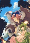 >_< 1boy 2girls alice_(ragnarok_online) armor belt blue_dress blue_eyes blue_sky breastplate brown_belt brown_cape brown_pants cape castle clenched_hand closed_mouth clouds cowboy_shot creator_(ragnarok_online) dress dutch_angle fire frilled_dress frills glasses gloves green_hair hand_on_another's_neck lif_(ragnarok_online) living_clothes long_hair looking_to_the_side magic maid maid_headdress minigirl moat multiple_girls open_mouth pants pink_dress pink_hair plant_hair pointy_ears pouch ragnarok_online rectangular_eyewear red_eyes sairin short_hair sky smoke teeth thought_bubble water white_gloves