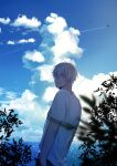 1boy absurdres aircraft airplane amuro_tooru arms_at_sides bangs blonde_hair blue_eyes blue_sky blurry_foreground casual chitose_(chitose_70207) closed_mouth clouds cloudy_sky commentary condensation_trail day hair_between_eyes highres horizon looking_at_viewer looking_back male_focus meitantei_conan outdoors pants plant shirt short_hair short_sleeves sky smile solo standing white_shirt