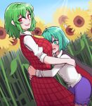 2girls antennae ascot black_cape blue_shorts blush breasts cape collared_shirt embarrassed eyebrows_visible_through_hair flower green_eyes green_hair hair_between_eyes highres hug insect_girl kazami_yuuka long_sleeves looking_at_viewer mata_(matasoup) medium_hair multiple_girls open_clothes open_mouth open_vest plaid plaid_skirt plaid_vest red_cape red_eyes red_skirt red_vest shirt short_hair shorts size_difference skirt skirt_set sleeves_rolled_up slit_pupils smile standing sunflower sunlight sweatdrop touhou two-tone_cape vest white_shirt wriggle_nightbug yellow_neckwear