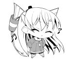 1girl amatsukaze_(kantai_collection) ataru_(ataru-littlebird) beamed_sixteenth_notes chibi choker closed_eyes commentary_request dancing dress eighth_note full_body greyscale hair_tubes hands_on_hips hat highres kantai_collection lifebuoy_ornament mini_hat monochrome musical_note quarter_note sailor_collar sailor_dress simple_background smokestack_hair_ornament solo two_side_up windsock