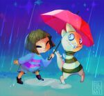 bluumi closed_eyes commentary english_commentary facing_another frisk_(undertale) holding holding_umbrella monster_kid_(undertale) rain umbrella undertale