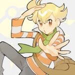 1boy bag bangs barry_(pokemon) blonde_hair brown_bag collared_shirt commentary eyebrows_visible_through_hair green_scarf grey_pants light_blush long_sleeves looking_at_viewer male_focus open_mouth pants pokemon pokemon_(game) pokemon_dppt rata_(m40929) scarf shiny shiny_hair shirt shoulder_bag solo striped striped_shirt