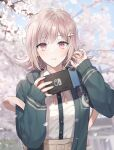 1girl absurdres bag bangs brown_skirt cherry_blossoms closed_mouth commentary_request danganronpa_(series) danganronpa_2:_goodbye_despair day doomie1 dress_shirt eyebrows_visible_through_hair flipped_hair frown green_jacket hair_ornament hairclip hand_in_hair handheld_game_console hands_up highres holding holding_handheld_game_console hood hooded_jacket jacket light_brown_hair looking_at_viewer nanami_chiaki neck_ribbon nintendo_switch open_clothes open_jacket outdoors petals pink_eyes pink_ribbon pleated_skirt ribbon shiny shiny_hair shirt shirt_tucked_in skirt sleeves_past_wrists solo spaceship_hair_ornament upper_body white_shirt