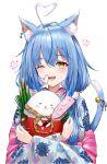 1girl :d ahoge ahoge_wag animal_ear_fluff animal_ears bangs bell blue_hair blue_kimono blush cat_ears cat_girl cat_tail creature daifuku_(yukihana_lamy) dejio expressive_hair floral_print hair_between_eyes heart_ahoge highres holding_creature hololive japanese_clothes jingle_bell kadomatsu kimono long_hair looking_at_viewer multicolored_hair new_year one_eye_closed open_mouth smile solo streaked_hair tail tail_bell tail_ornament upper_body virtual_youtuber yellow_eyes yukihana_lamy