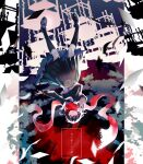 1girl additional_memory_(vocaloid) backlighting black_hair black_legwear black_serafuku crying crying_with_eyes_open desk enpera falling floating_scarf hair_between_eyes hair_ornament hairclip highres kagerou_project loafers long_sleeves looking_at_viewer nanora_(sero4) neckerchief paper parted_lips pleated_skirt reaching_out red_eyes red_scarf sailor_collar scarf school_desk school_uniform serafuku shoes skirt sky solo tateyama_ayano tears thigh-highs upside-down