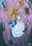 1girl alice_(wonderland) alice_in_wonderland black_footwear black_ribbon blonde_hair blue_dress blue_eyes cup derivative_work dress floating_hair hair_ribbon highres holding holding_cup knees_up long_hair open_mouth oskar_vega puffy_short_sleeves puffy_sleeves ribbon shoes short_sleeves signature solo teapot white_legwear
