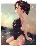 1girl bare_arms bare_shoulders black_swimsuit blush brown_eyes brown_hair collarbone highres kantai_collection one-piece_swimsuit onsen parted_lips partially_submerged ponytail shiki_no_miko shikinami_(kantai_collection) short_hair snowing solo swimsuit