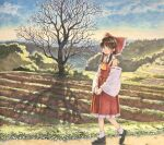 1girl ascot bangs bare_tree blush bow brown_eyes brown_hair bush closed_mouth clouds collared_shirt commentary_request crossed_legs detached_sleeves farm field frilled_bow frilled_shirt_collar frilled_skirt frills full_body hair_bow hair_tubes hakurei_reimu long_skirt looking_at_viewer mountainous_horizon outdoors own_hands_together path red_bow red_shirt ribbon-trimmed_sleeves ribbon_trim rice_paddy shadow shiratama_(hockey) shirt short_hair sidelocks skirt skirt_set sky sleeveless sleeveless_shirt smile solo tareme touhou traditional_media tree walking watson_cross yellow_neckwear
