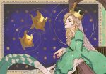 1girl aqua_dress blonde_hair crown dress half-closed_eyes highres long_hair long_sleeves luma_(mario) mario_(series) oskar_vega profile rosalina smile solo super_mario_galaxy upper_body wide_sleeves