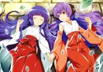 2girls absurdres closed_eyes crystal crystal_shard detached_sleeves eyebrows_visible_through_hair furude_rika hakama hanyuu highres higurashi_no_naku_koro_ni holding_hands japanese_clothes long_hair looking_at_another looking_to_the_side lying miko multiple_girls newtype official_art purple_hair red_hakama ribbon-trimmed_sleeves ribbon_trim scan shards shirt violet_eyes white_shirt