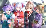 4girls :d animal_ears ayanami_(azur_lane) azur_lane bangs beret black_headwear black_ribbon blue_eyes blurry blurry_background blush brown_hair candy_apple closed_mouth commentary_request depth_of_field double_bun eyebrows_visible_through_hair floral_print food frilled_sleeves frills green_eyes green_kimono hair_between_eyes hair_ribbon hat headgear high_ponytail holding holding_food japanese_clothes javelin_(azur_lane) kimono kiyosato_0928 laffey_(azur_lane) long_hair long_sleeves multiple_girls obi omikuji open_clothes open_mouth pink_kimono ponytail print_kimono purple_hair purple_kimono rabbit_ears red_eyes red_scarf ribbon sash scarf sidelocks silver_hair sleeves_past_wrists smile sparkle wide_sleeves z23_(azur_lane)