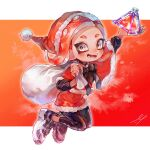 1girl arm_up artist_name black_footwear black_legwear black_neckwear capelet christmas fangs fur-trimmed_capelet fur_trim grey_eyes hat holding holding_sack holding_weapon jumping leggings letterboxed makeup mascara medium_hair miu_pachi neck_ribbon octoling open_mouth over_shoulder red_background red_capelet red_headwear red_theme redhead ribbon sack santa_costume santa_dress santa_hat shoes signature smile sneakers solo splat_bomb_(splatoon) splatoon_(series) suction_cups symbol_commentary tentacle_hair weapon