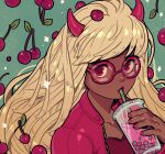 1girl bangs blonde_hair borrowed_character bubble_tea cherry cherry_(manda_schank) cup dark_skin dark_skinned_female demon_girl drinking food fruit highres holding holding_cup horns long_hair looking_at_viewer original oskar_vega red-framed_eyewear red_eyes red_horns red_nails solo succubus upper_body