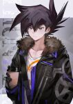 1boy alternate_costume aoki_(fumomo) background_text bangs black_eyes black_gloves black_hair black_jacket closed_mouth cup disposable_cup fur-trimmed_jacket fur_trim gloves hair_between_eyes highres holding holding_cup jacket long_sleeves male_focus manjoume_jun open_clothes open_jacket shirt simple_background solo spiky_hair upper_body yu-gi-oh! yu-gi-oh!_gx