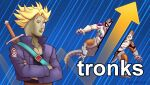 2boys arrow_(symbol) bifurcation blonde_hair blue_eyes blue_jacket business capsule_corp commentary cropped_jacket crossed_arms cyborg dragon_ball dragon_ball_z english_commentary frieza jacket male_focus meme multiple_boys nortuet reddit sheath sheathed stonks super_saiyan super_saiyan_1 sword sword_behind_back trunks_(future)_(dragon_ball) weapon