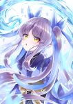 1girl :o absurdres animal_print bangs blue_theme blush bow butterfly_print dress eyebrows_visible_through_hair eyes_visible_through_hair floating_hair hair_ribbon highres japanese_clothes kyouka_(princess_connect!) long_hair long_sleeves looking_at_viewer parted_lips pointy_ears princess_connect! princess_connect!_re:dive purple_hair ribbon solo takemura_kou twintails very_long_hair water wide_sleeves yellow_bow yellow_eyes