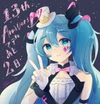 1girl anniversary bare_shoulders blue_eyes blue_hair blush closed_mouth dress facial_mark gloves hand_up haruta_(user_dndp3458) hat hatsune_miku highres long_hair magical_mirai_(vocaloid) mini_hat sleeveless sleeveless_dress smile solo tilted_headwear translation_request twintails twitter_username upper_body vocaloid white_dress white_gloves white_headwear