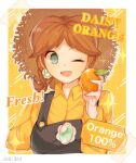 1girl ;d alternate_costume blue_eyes border brown_hair collared_shirt earrings english_text food fruit hat highres holding holding_food holding_fruit jewelry mario_(series) one_eye_closed open_mouth orange orange_nails oxo_xwo princess_daisy shirt smile solo straw_hat tape upper_body white_border yellow_shirt