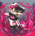 +_+ 1girl artist_name bangs belt black_belt black_choker black_gloves black_legwear black_shirt black_shorts burst_bomb_(splatoon) callie_(splatoon) choker crop_top domino_mask earrings fangs food food_on_head gloves highleg highleg_panties highres holding holding_weapon jewelry legwear_under_shorts long_hair looking_at_viewer lowleg lowleg_shorts mask midriff mole mole_under_eye navel object_on_head okome_2g2g open_mouth paint_splatter panties pantyhose pointy_ears puffy_short_sleeves puffy_sleeves purple_panties shirt short_shorts short_sleeves shorts signature smile solo spiked_belt spiked_choker spikes splatoon_(series) splatoon_2 standing stomach_tattoo sushi swept_bangs tako-san_wiener tattoo tentacle_hair tied_hair underwear very_long_hair weapon yellow_eyes