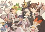 2girls 3boys :o :q alcremie alcremie_(strawberry_sweet) bangs bede_(pokemon) blush bow bowtie brown_eyes brown_hair brown_shorts closed_mouth collared_shirt commentary curly_hair dark_skin dark_skinned_male dress eyebrows_visible_through_hair eyelashes fork gen_4_pokemon gen_8_pokemon glass gloria_(pokemon) green_eyes grey_eyes grookey hair_ribbon hand_up hatenna highres holding holding_tray hop_(pokemon) index_finger_raised long_sleeves marnie_(pokemon) morpeko morpeko_(full) multiple_boys multiple_girls napkin neck_ribbon open_mouth pink_neckwear pokemon pokemon_(creature) pokemon_(game) pokemon_swsh purple_neckwear rata_(m40929) red_neckwear red_ribbon ribbon rotom rotom_phone saucer scorbunny shirt short_hair short_sleeves shorts smile sobble starter_pokemon_trio suspenders sweatdrop swept_bangs teeth tongue tongue_out tray victor_(pokemon) wooloo |d