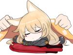 1girl :o animal_ears bangs blanket blush chibi closed_eyes covering_with_blanket disembodied_limb dokomon eyebrows_visible_through_hair facing_viewer g41_(girls_frontline) girls_frontline hair_between_eyes hair_ornament highres long_hair parted_lips simple_background sleeping solo_focus white_background