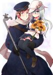 1boy 1girl axis_powers_hetalia bangs black_gloves black_legwear blue_coat blue_eyes blue_headwear carrying closed_mouth clothes_writing coat crossover flat_cap flower gloves grey_hair hair_between_eyes hammer_and_sickle hat hibiki_(kantai_collection) himaruya_hidekazu_(style) holding holding_flower jacket kantai_collection kuro lead_pipe long_hair long_sleeves military military_uniform pleated_skirt russia_(hetalia) russian_text scarf silver_hair simple_background skirt smile star_(symbol) sunflower thigh-highs uniform verniy_(kantai_collection) violet_eyes white_headwear white_scarf