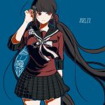 1girl bangs black_hair blue_background blunt_bangs breasts commentary_request cowboy_shot danganronpa_(series) danganronpa_v3:_killing_harmony dated eyebrows_visible_through_hair green_outline hair_ornament hairclip hand_in_hair hand_up harukawa_maki kiri_(2htkz) long_hair long_sleeves looking_at_viewer low_twintails miniskirt mole mole_under_eye outline plaid plaid_skirt pleated_skirt red_eyes red_scrunchie red_shirt school_uniform scrunchie serafuku shirt simple_background skirt smile solo standing translation_request twintails very_long_hair