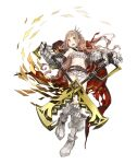 1girl :d armored_boots belt blonde_hair boots cape eyebrows_visible_through_hair frilled_swimsuit frills full_body gauntlets hair_ribbon ji_no little_red_riding_hood_(sinoalice) long_hair looking_at_viewer navel official_art open_mouth orange_eyes ribbon scissors sinoalice smile solo swimsuit torn_cape torn_clothes transparent_background upper_teeth