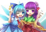 ;d blue_dress blue_eyes blue_hair blue_ribbon cirno commentary dress eyebrows_visible_through_hair flower green_kimono hair_flower hair_ornament hair_ribbon hakama hanasan520 hieda_no_akyuu highres ice ice_wings japanese_clothes kimono long_hair one_eye_closed open_mouth pinafore_dress pun purple_hair red_hakama ribbon shirt short_hair smile sweatdrop touhou v violet_eyes white_shirt wings yellow_sleeves